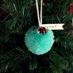 pom pom christmas ornament joyeux noel with bells pretty. Black Bedroom Furniture Sets. Home Design Ideas