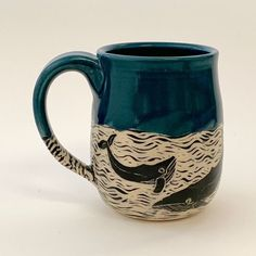 SPECIAL ORDER - Mug - Humpback Whale Wrap - - Ceramic mug with whales, black and ocre Best Picture For pizza sauce For Your Taste You are looki - Stoneware Mugs, Ceramic Mugs, Ceramic Bowls, Earthenware, Ceramic Art, Porcelain Ceramic, Sgraffito, Pottery Mugs, Ceramic Pottery