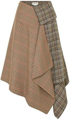 Monse Asymmetric Paneled Checked Wool-blend Midi Skirt - Tan Source by ShopStyle Mode Tartan, Satin Midi Skirt, Trendy Fashion, Womens Fashion, Fashion Vintage, Vintage Style, Wool Skirts, Mini Skirts, Skirt Outfits