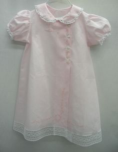 "Pattern: Old Fashioned Baby - Baby's Summer Clothes.  Fabric: Pink Bearissima Swiss Batiste.  Floss: ""Victorian Pink"" by The Gentle Art, Overdyed floss"