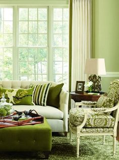 green green and more green living room