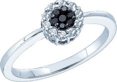 14kt White Gold Womens Round Black Colored Diamond Slender Flower Clus                      – Enchanted Opals Boutique