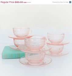 Vintage Pink Depression Glass Cup & Saucer Set....