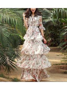 Vestito Lungo Donna Chiffon VERG028