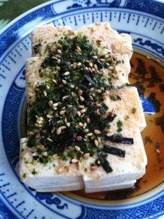 Soft cold tofu with shoyu and nori Komi furikake - my favorite pupu (appetizer)