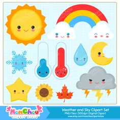 Cute Weather and Sky Clipart Set - Kawaii Weather and Seasons Clipart Set For Commercial and Personal Use by MonChouClipartStore on Etsy https://www.etsy.com/uk/listing/454113142/cute-weather-and-sky-clipart-set-kawaii