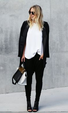 how to dress up drop crotch pants, womens fashion Casual Chic, Work Casual, Casual Outfits, Fashion Outfits, Women's Fashion, Fashion Black, Casual Wear, Fashion Shoes, Drop Crotch Pants