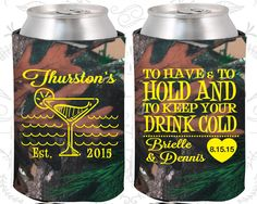 To Have and To Hold and to Keep your Drink Cold, Wedding Items, Beach Wedding Favors, Tropical Wedding Favors, Coozies (429)