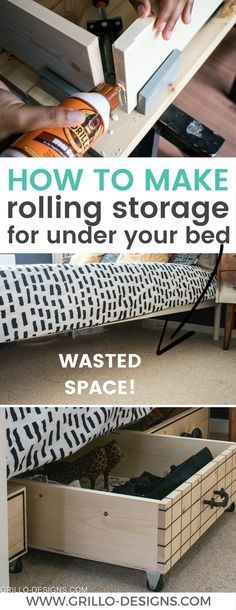 room diy storage if youre struggling for space in your bedroom - try making these rolling DIY under bed storage boxes. They are a great way to add storage to any room! Ive also rounded up some of my favourite modern vintage knobs! Under Bed Storage Boxes, Wood Storage Box, Decorative Storage Boxes, Vintage Storage, Craft Storage Box, Plywood Storage, Under Bed Drawers, Make Up Storage, Decorative Paper