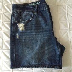 J Crew Factory Boyfriend Denim Shorts J Crew Factory Boyfriend jean shorts with distressing on front. Approximately 6 inch inseam. Material: 100% cotton J. Crew Shorts Jean Shorts