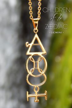 """Harness the power of the stars with this Gemini Zodiac Necklace. A subtle reminder of that which you are destined for.  ★ The Vertical Gemini Necklace from the """"Children Of The Zodiac"""" collection by Patrick Simon consists of the Gemini astrological symbol, Air alchemical symbol, which is the ruling element associated with Gemini and a variation of the Mercury alchemical symbol, which is the ruling metal associated with the Gemini sign."""