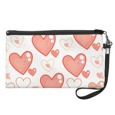 Red Multi-heart pattern wristlet and accessory bag