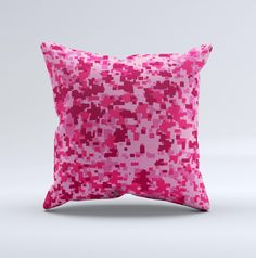 Hot Pink Digital Camouflage Ink-Fuzed Decorative Throw Pillow from DesignSkinz