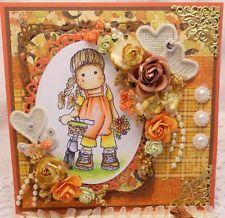 ELITE4U Magnolia Tilda Fall Handmade Card by Rina