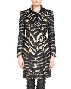 BALMAIN Double-Breasted Zebra-Print Coat. #balmain #cloth #