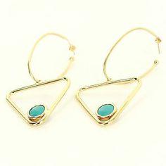 Vintage 14 Karat Yellow Gold Turquoise Triangle Hoop Earrings Fine Jewelry Used $895
