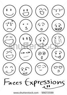 set of doodled cartoon faces in a variety of expressions - stock vector