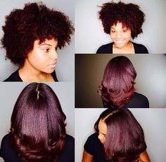 Gorgeous color on afro hair. Natural Hair Inspiration, Natural Hair Tips, Natural Hair Styles, Burgundy Natural Hair, Color On Natural Hair, Flat Ironed Natural Hair, Burgundy Hair Black Girl, Blow Dry Natural Hair, Black Cherry Hair