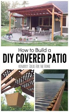 How to Build a DIY Covered Patio Beautiful idea for your backyard! How to build. , diy patio cover How to Build a DIY Covered Patio Beautiful idea for your backyard! How to build. Diy Pergola, Pergola Design, Backyard Pergola, Backyard Landscaping, Pergola Ideas, Patio Roof, Modern Pergola, Backyard Shade, Cheap Pergola