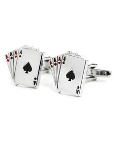 Card Game Cufflink Black Red and Silver Poker Cards Novelty Men Unisex Cufflink * You can get more details here : Valentine Gifts