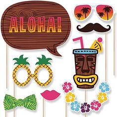 Luau - Hawaiian Photo Booth Props Kit - 20 Count Big Dot ...