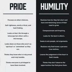 pride v humility. I like, except for the last item under 'Humility'. Great Quotes, Quotes To Live By, Life Quotes, Inspirational Quotes, Quotes About Pride, Journey Quotes, Truth Quotes, Family Quotes, The Words