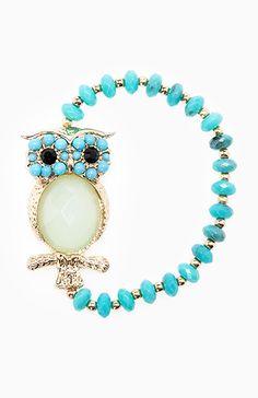 beaded owl bracelet