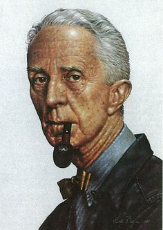 This is a portrait of Rockwell done in a Rockwell style by an artist whose signature I can't quite read.