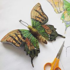 My drawing has come to life, here's my Indian Emperor in layers of silk, organza and stitch. One of the rarest butterflies in the world, found in Northern India Fabric Butterfly, Butterfly Embroidery, Butterfly Wall Art, Butterfly Crafts, Beaded Embroidery, Embroidery Patterns, Machine Embroidery, Art Textile, Textile Artists