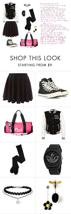 """old days"" by leina-elansary on Polyvore featuring Converse, Victoria's Secret PINK and adidas"