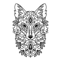 Illustration for textile prints, tattoo, web and graphic design - buy this illustration on Shutterstock & find other images. Doodles Zentangles, Fuchs Illustration, Fox Totem, Fuchs Tattoo, Fox Tattoo, Pet Fox, Sketch Painting, Cartoon Dog, Tattoo Sketches