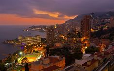 Download wallpapers Monaco, evening, city panorama, Mediterranean Sea, city lights, Beausoleil, France