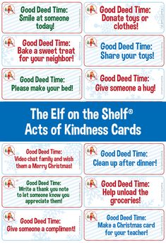 Random acts of kindness   Acts of kindness ideas for kids   Printable kindness cards Christmas Themes, Christmas Ideas, Merry Christmas, Xmas, Kindness For Kids, Kindness Ideas, Elf On The Self, The Elf, Elf Games