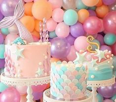 This Mermaid Theme Party Ideas got me all inspired already! If you are looking at a theme for your little girl birthday - THIS IS IT Mermaid Birthday Cakes, Mermaid Cakes, First Birthday Girl Mermaid, First Birthday Parties, First Birthdays, 5th Birthday, Birthday Ideas For Kids, Best Birthday Cake, Purple Birthday