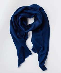 Navy Weaved Cashmere Scarf