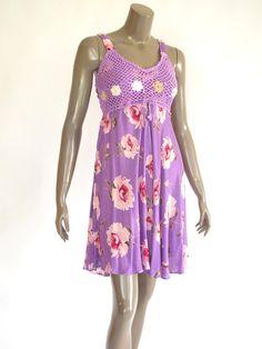 Purple Women  Short Cotton Dress Hand Made Crochet by NaniFashion, $19.99