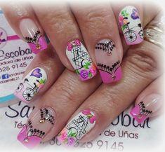 Purple And Pink Nails, Pink Nail Art, Cute Nail Art, Cute Nails, Pretty Nails, Nail Art Designs, Acrylic Nails, Manicure, Lily