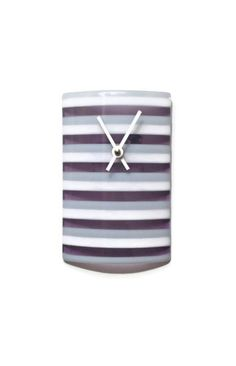 Wall Clock - Purple White and Gray Stripe Wall Clock - Modern Glass Wall Clock - Modern Decor - Modern Home Decor by SeaLambGlass on Etsy https://www.etsy.com/listing/168119658/wall-clock-purple-white-and-gray-stripe
