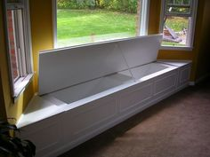 Bay window storage bench - perfect place to put all supplies, samples, display boards etc. Will top with lovely upholstered foam bench cushion and pillows Window Storage Bench, Bay Window Benches, Bench With Storage, Window Seats, Window Cornices, Corner Storage, Entryway Storage, Window Sill, Toy Storage