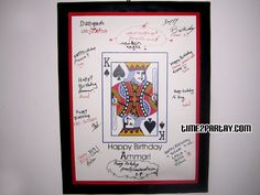 birthday guestbook frame - deck of cards  or for a poker theme