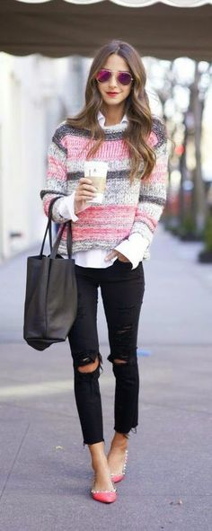 Make a black and white outfit more playful with a dash of pink.
