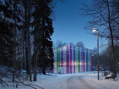 The Cultural house of Cyklopen located in Stockholm, Sweden. A wonderful entry in the WAN Colour in Architecture Award, designed by Marx arkitektur AB. (c) Robin Hayes