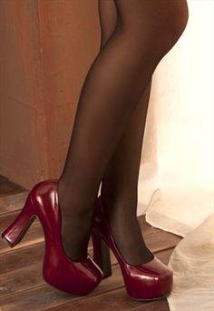 rough heels plat form brogues red
