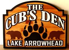 """M22878 - Carved and Sandblasted Cedar Wood House Sign, """"The Cubs Den"""", with Bears and Pawprint"""