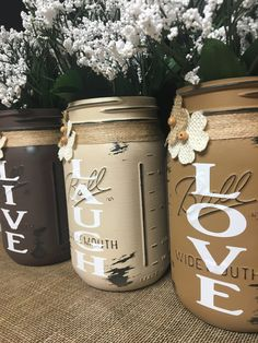 3pc Live, Laugh Love Mason Jar Set, Distressed Mason Jar vase set, Rustic Live, Laugh, Love Mason Jar Set, Customize Colors and Accents