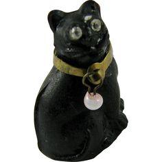 RARE Antique Art Deco 1920s Czech Moulded Glass Black Cat Cracker Charm Original Brass Collar & Faceted Paste Eyes - Halloween! Good Luck! -- found at www.rubylane.com #vintagebeginshere #happyhalloween