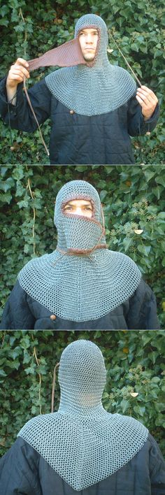 Chain mail coif with 'ventail' mouth cover