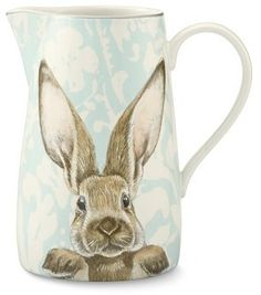 Williams Sonoma Damask Bunny Pitcher