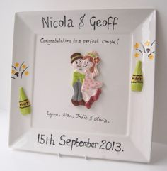 "Personalised and customised wedding keepsakes.  This plate was decorated by ""Pottering About"" in Oxfordshire, UK."