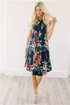 Navy Tropical Floral Swing Modest Dress Bridesmaids Dress, Church Dresses, dresses for church, modest bridesmaids dresses, trendy modest dresses, modest womens clothing, affordable boutique dresses, cute modest dresses, mikarose, best modest boutique